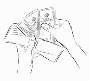 Sketch of hands with money Stock Photography