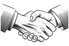 Sketch handshake Stock Image