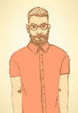 Sketch handsome hipster guy in vintage style Stock Images