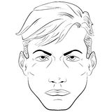 Sketch handsome man, face vector illustration Royalty Free Stock Photos