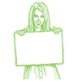 Sketch happy business woman holding blank card vector illustration