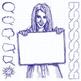 Sketch Happy Business Woman Holding White Card royalty free illustration