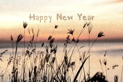 Sketch of happy new year greeting card with silhouette grassy sunrise Stock Photography