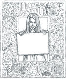 Sketch Happy Woman Holding Blank White Card Against Love Story B Royalty Free Stock Images