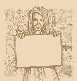 Sketch Happy Woman Holding Blank White Card Against Love Story Royalty Free Stock Images