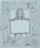 Sketch Happy Woman Holding Blank White Card Against Love Story Royalty Free Stock Image