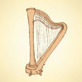 Sketch harp musical instrument Royalty Free Stock Images
