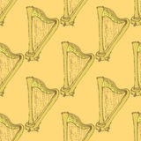 Sketch harp musical instrument in vintage style Royalty Free Stock Image