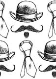 Sketch hat, tie and mustache, vector  seamless pattern. Sketch hat, tie and mustache, vector vintage seamless pattern Royalty Free Stock Image