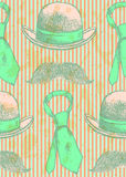 Sketch hat, tie and mustache, vector seamless pattern Royalty Free Stock Photos