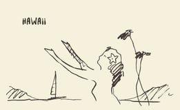 Sketch Hawaiian girl vector illustration drawn. Royalty Free Stock Photos