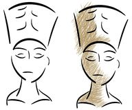Sketch of the head of Nefertiti isolated Royalty Free Stock Photography