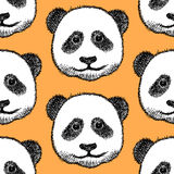Sketch head of panda, vector  seamless pattern Royalty Free Stock Images