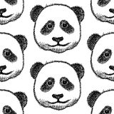 Sketch head of panda, vector  seamless pattern Royalty Free Stock Photos