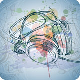 Sketch of headphones on the color paint Stock Image
