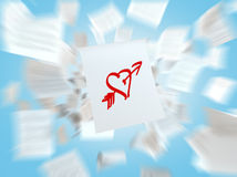 A sketch of the heart with the love arrow on the white flying paper. Stock Images