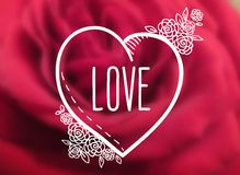 Sketch heart, love and small roses Royalty Free Stock Image