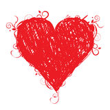 Sketch heart shape red for your design Stock Image