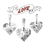 Sketch hearts with floral motif Royalty Free Stock Photo