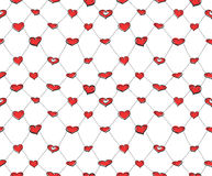 Sketch hearts net Royalty Free Stock Image