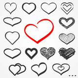 Sketch hearts set Stock Photography