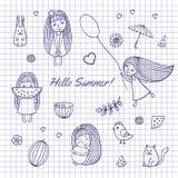Sketch Hello summer Stock Photos
