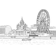 Sketch of Helsinki. Drawing of the embankment of the Finnish city of Helsinki with a Ferris wheel and a cathedral Stock Photo