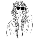 Sketch hippie girl with glasses and pigtails Stock Images