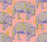 Sketch hippo, vector vintage seamless pattern Royalty Free Stock Photos