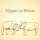 Sketch hippo vs rhino, vector seamless pattern eps 10 Stock Photography