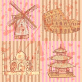 Sketch historic buildings, vector vintage background Royalty Free Stock Image