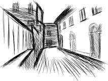 Sketch of a historic village Stock Photos