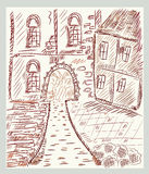 Sketch of historical  town Stock Images