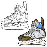Sketch of hockey skates. Skates to play hockey on ice, vector illustration Stock Image