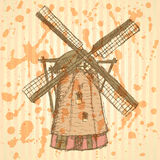 Sketch Holand windmill, vector background Royalty Free Stock Photos