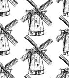 Sketch Holand windmill, vector seamless pattern Royalty Free Stock Photo