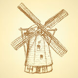 Sketch Holand Windmill, Vector Vintage Background Royalty Free Stock Photography
