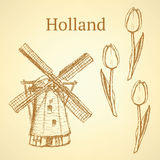 Sketch Holland windmill and tulip, vector background Royalty Free Stock Photo