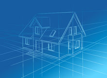 Sketch of home. Simplified drawing of the family home on a blue background