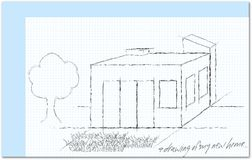 Sketch of home at squared paper feint Stock Photography