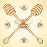 Sketch honey stick and bee in vintage style Royalty Free Stock Image