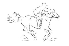 Sketch horseman galloping on horse. Vector illustration Stock Photos