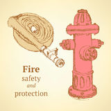 Sketch hose and hydrant in vintage style. Vector Royalty Free Stock Photos