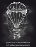 Sketch hot air balloon on blackboard Stock Image