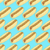 Sketch hot dog in vintage style Stock Photos