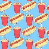 Sketch hotdog and soda in vintage style Royalty Free Stock Photo