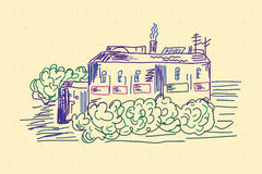 Sketch of the house. On the yellow paper Stock Image