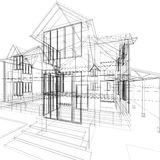 Sketch of house. Abstract sketch of house. 3d architecture illustration Royalty Free Stock Photography