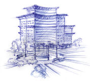 Sketch of the house Royalty Free Stock Images