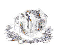 Sketch house dollar background Royalty Free Stock Image